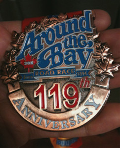 The Around the Bay 30k finishers medal